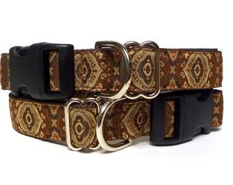 Brown dog collar, Morocco dog collar, Moroccan collar, house collar, buckle collar, tag collar, dog tag collar, dog collar, adjustable