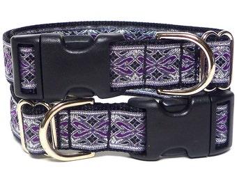 Purple dog collar, OLD ENGLISH collar, metallic dog collar, dog tag collar, buckle collar, house collar, tag collar, metallic tag collar