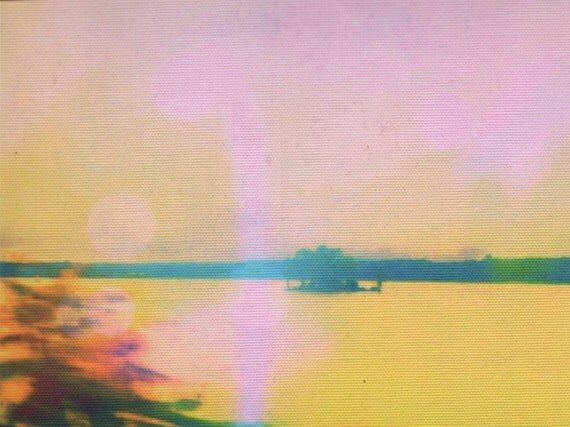 Digital print on canvas- Lil Isle on the Hudson in Yellow+ Pink by Gretchen Kelly