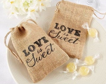 12 Love is Sweet Burlap Bags Wedding Favors Craft Supply