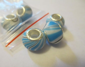 5 Blue and White Striped Euro Beads Craft Supplies