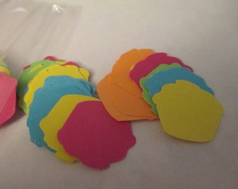 100 Neon Cupcake Cut Outs Scrapbooking Craft Supplies