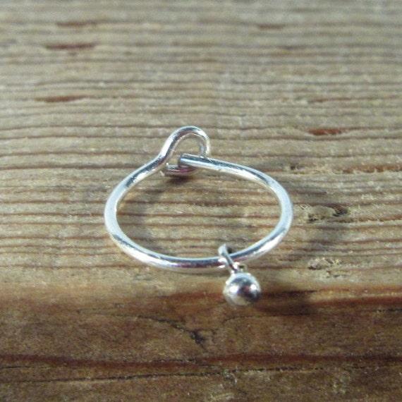 Hoop Earring Silver Silver Bud Dangle SINGLE - Tiny Hoop Earring, Small Hoop Earring, Tragus Earring, Rook Earring, Daith Earring, Helix