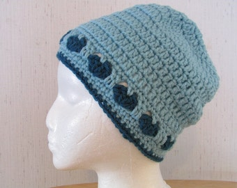 Crochet Hat with Hearts in Iced Aqua/Jade