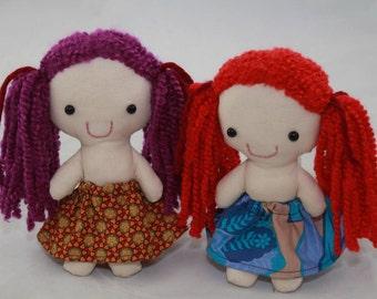 Pocket Rag Dolls, Handmade, Cloth, Vegan, Sustainable, Upcycled Fabrics, 8 inches, Newborn Toy
