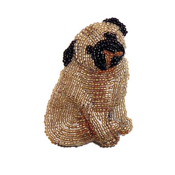 Beading kit pug bead embroidery dog pin beaded animal