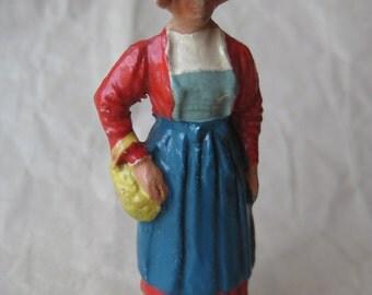 Switzerland Woman Figurine Vintage Composition Putz Germany Miniature