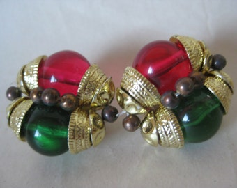 Green Pink Gold Earrings Clip Vintage Glass