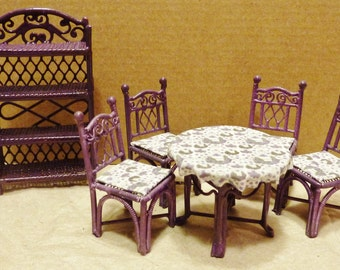 Half Scale Wrought Iron Look Table, Chairs and Eterege