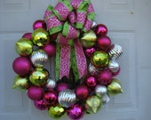 CLEARANCE 50% OFF - Christmas Ornament Wreath - Pink, Green, and Silver - Shatterproof Ornaments - Holiday Decor - Home Decor