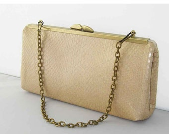 SALE - Leather Clutch - Camel Tan Snakeskin Embossed Design - Ready to Ship