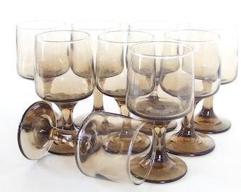 9 Vintage Mod Wine Glasses - Libbey / Rock Sharpe - Apollo Tawny