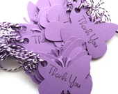 36 Gift Tags, Butterflies in Purple, Thank You, Hang Tags, Party Favor Tags