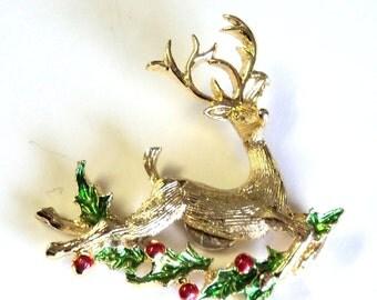"""Gold and Enamel Flying Reindeer Magnet, Upcycled Vintage Brooch, 2"""", Handmade Magnet, Home Decor, Kitchen Decor"""
