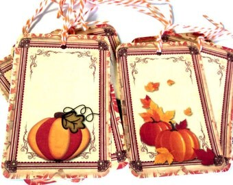 8 Gift Tags, Pumpkin Tags, Fall Gift Tags, Orange Brown Merchandise Tags, Hang Tags, Handmade