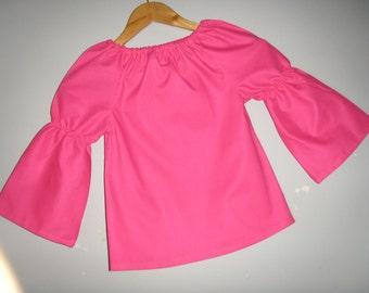 tunic top ASSORTED colors peasant tunic top, long sleeve (available in sizes   2t,3t,4t,5t,6,7,8,  child's top)