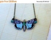 Moth Pendant  Butterfly Necklace  Aqua, Turquoise, Cerulean Blue Wings  Gift Box