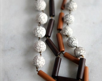 50% Off Cocoa Brown Necklace with Faceted White Beads, Caramel Ochre, Polymer Clay, Layering Necklace, Neutrals