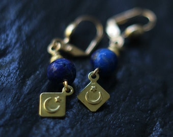 Celestial Lapis Lazuli Earrings, Crescent Moon Dangles, Stars, Brass, Cosmic, Alchemy, Pagan, Magic, Boho Jewelry
