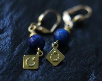 Celestial Lapis Lazuli Earrings, Crescent Moon Dangles, Stars, Brass, Cosmic, Alchemy, Pagan, Magic, Boho Jewelry