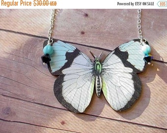 Moth Necklace Giant Moth Butterfly Pendant Turquoise Black White