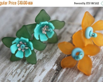 Spring Flowers Earrings, Orange, Turquoise, Green Flowers Spring, Floral, Under 15