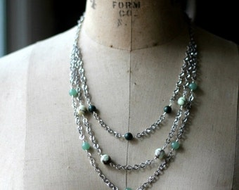 Silver Multi-Strand Necklace, Green Gemstone, Green Jade, Green Agate, Chrysoprase, Beaded Statement Necklace