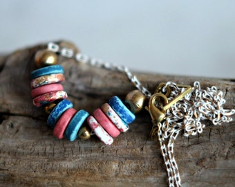 Pastel Necklace, Ceramic Beads, Pink, Gold, Blue, Speckled, White Enameled Metallic Chain