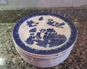 Nice set of ten Blue Willow divided dinner plates for one price- John Steventon, Burslem, England