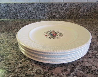 Set of 6 Wedgwood Edme Conway pattern salad plates for one price- fine condition, no cracks or chips, beautiful design