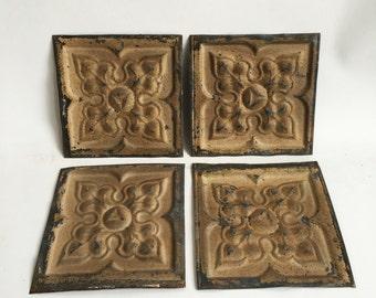 "AUTHENTIC Reclaimed Tin Ceiling 6"" x 6"" Set of 4 Decorative Artisan Tiles Buckskin 223-16"