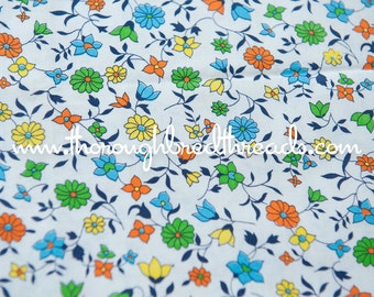 Fun All Over Floral - Vintage Fabric  50s 60s New Old Stock Juvenile Daisies 35 inches wide