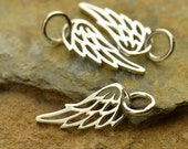 Angel Wing Necklace - Tiny Solid 925 Sterling SIlver Openwork Charm - Free Domestic Shipping