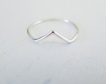 Sterling Silver Chevron Stacking Ring - Solid 925 - Insurance Included