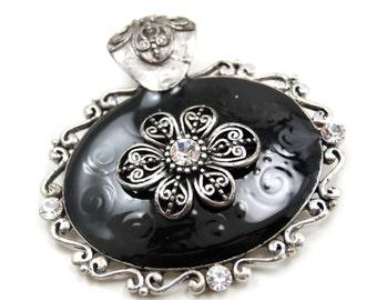 Gothic Bohemian Pendant with Large Black Enamel Oval and Swirled Filigree Flower with Decorative Bail - Gothic Lolita, Modern Mourning, Boho