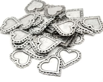 Lacey Edge Heart Charm - 1 Piece - Sterling Silver Plated Brass - 35 x 36mm - Romantic Boho, Neo Victorian, Bohemian, Art Nouveau, Valentine