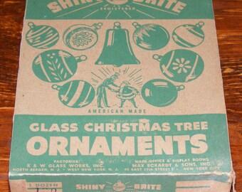 Vintage Shiny Brite Mercury Glass Christmas Tree Ornaments Pink in original box Uncle Sam and Santa Claus Litho