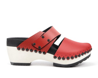 Mid Clog with Red Vegan Leather Cap Toe and Slide Strap by Mohop - Handmade in USA