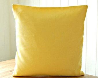 16 inch lemon primrose yellow cushion cover , solid accent linen decorative pillow cover 40 cm