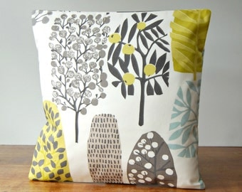 woodland decorative pillow cover 16 inch / 40 cm, light blue, charcoal grey, beige, chartreuse trees cushion cover