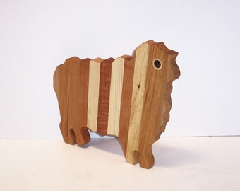 Sheep Cutting Board Handcrafted from Mixed Hardwoods
