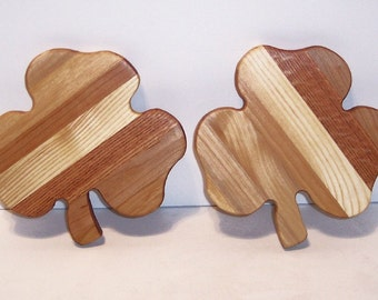 Mini Shamrock Cutting Board Set of 2 --Handcrafted from Mixed Hardwoods