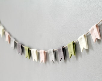 Felt Bunting Flags. Soft Nursery Garland. Bedroom Wall Hanging. Succulent Colorway. Modern Felt Banner. Reusable Party Decor.