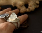 crystal apophyllite point ring adjustable in recycled sterling silver handmade artisan jewelry Eco friendly
