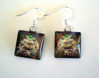 Green Frog Jewelry Earrings Looking at You Glass Square Setting