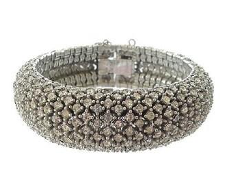 Ciner Bracelet, Designer Vintage Rhinestone Bracelet, 1940s Fine Antique Jewelry, Wedding Bridal Statement Jewelry