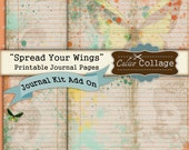 Spread Your Wings Printable Journal Kit Add On, Journal Paper, Printable Paper, Vintage Journal, Journal Cards, Journal Supplies