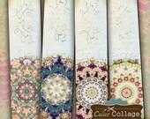 Mandala Bookmarks, Digital Collage, Collage Sheet, Printable Mandalas, Instant Download, Junk Journal Tags, Scrapbook Tag, Digital Bookmarks