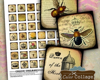 Queen Bee, Collage Sheet, Bee Collage Sheet, Digital Collage, Printable, 1x1 Collage Sheet, Digital Squares, 1x1 Squares, Printable Images