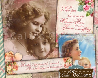 Mother's Day Digital Collage Sheet for Scrapbooking and Journaling Vintage Craft Paper Gift Tags Decoupage Paper CalicoCollage Decoupage